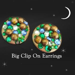 80s Style Big Clip on Earrings